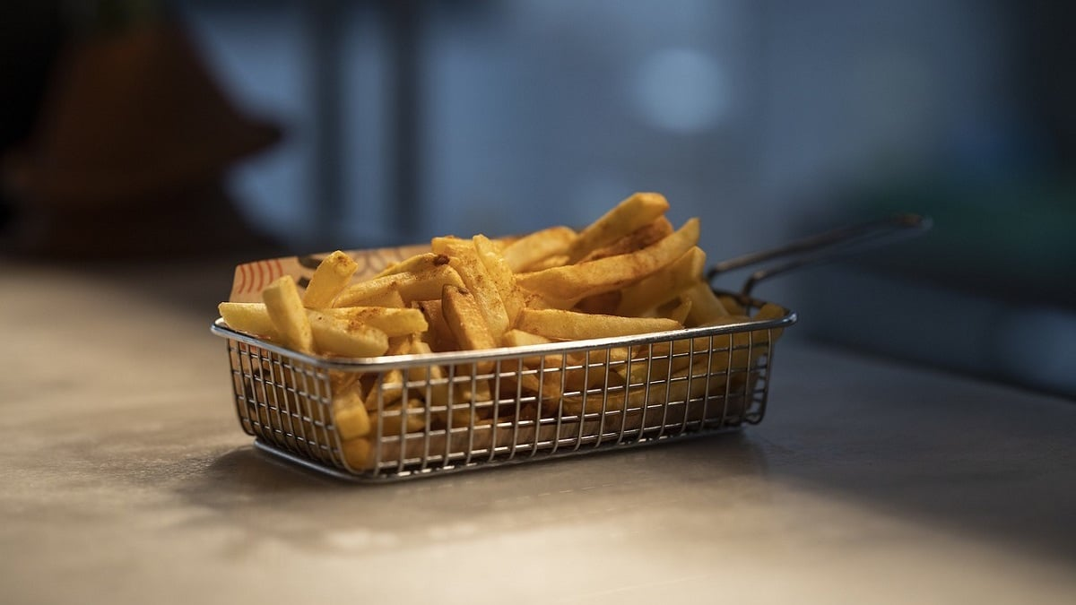 patatas fritas en freidora sin aceite